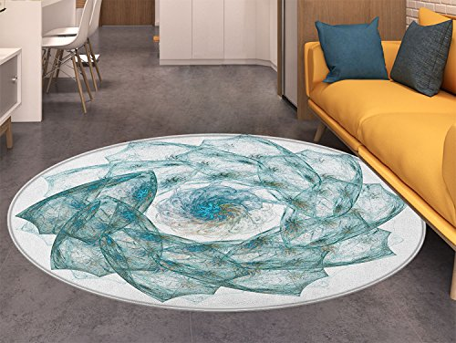 Spires small round rug Carpet Flower Shaped Spiral Digital Vortex Pattern with Hazy Colored Elements Artistic Image door mat indoors Bathroom Mats Non Slip Teal
