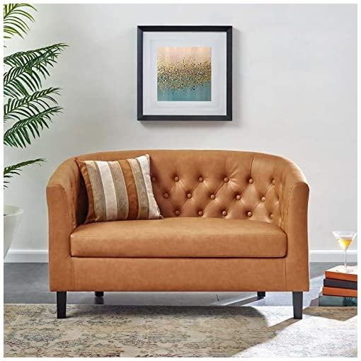 Farmhouse Living Room Furniture Modway Prospect Upholstered Contemporary Modern Loveseat In Tan Faux Leather farmhouse sofas and couches