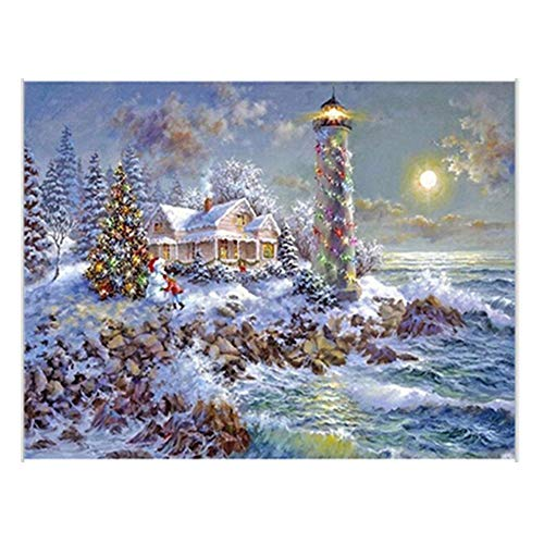 Lighthouse Outdoor Accent Natural (Promisen Christmas Rhinestone Painting,Outdoor Lighthouse Painting Stitch Home Decor,Wall Decor for Living Room Decoration (Multicolor))