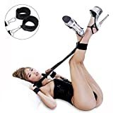 Bondage Restraints Kit with Adjustable Straps Padded Wrist Ankle Cuffs Strong Velcro for Reliable Legs-spread Action,PALOQUETH 3 In 1 BDSM Restraints Toy with Comfortable Feather Blindfold Cuffs Flirt