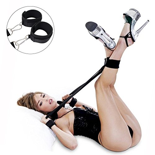 Bondage Restraints Kit with Adjustable Straps Padded Wrist Ankle Cuffs Strong Velcro for Reliable Legs-spread Action,PALOQUETH 3 In 1 BDSM Restraints Toy with Comfortable Feather Blindfold Cuffs Flirt by PALOQUETH