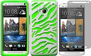 For HTC One M7 Zebra PC Silicone Hybrid Cover Case White/Neon Green + LCD Screen Protector Accessory