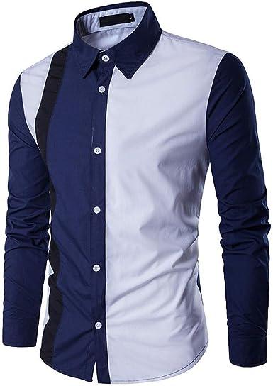 Camisa Hombres Hombres Manga Larga Magnífico Patchwork Diseño ...