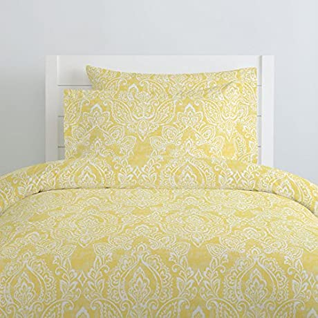Carousel Designs Banana Yellow Vintage Damask Duvet Cover Queen Full Size Organic 100 Cotton Duvet Cover Made In The USA
