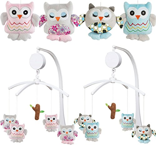 Baby Products Newborn Owl Hanging Crib Mobile with Pink Bed Bell Holder HB.YE Baby Musical Cot Mobile Toys with Rotating Animals Soothers