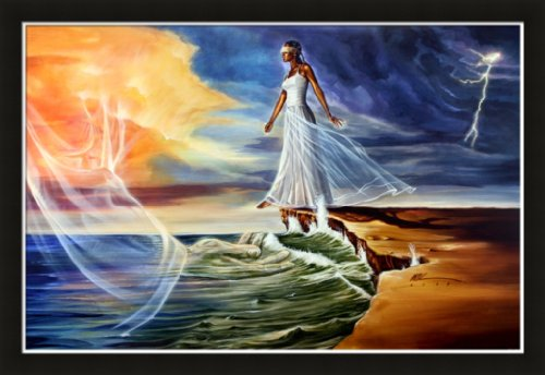 Stepping Out on Faith Female By WAK Kevin A. Williams 24x36 Black Art Print Poster African-american Black Framed Wood Composite MDF #8c4 by US Art