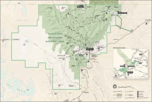 Poster Map Of Guadalupe Mountains National Park - West Texas
