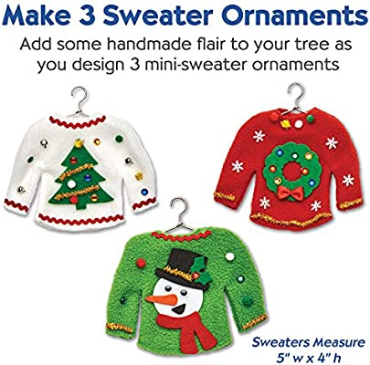 7595acfabff9 Creativity for Kids 6192000 Sweater Ornaments - Create 3 Ugly Sweater  Christmas Tree Ornaments - Holiday Crafts for Kids Multicolor