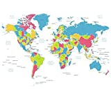 Itian シャワーカーテン 世界地図 カーテンリング付属 ポリエステル 防水 防カビ ユニットバス バスルーム