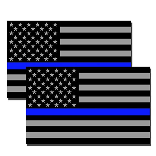 Thin Blue Line Subdued American Flag Full Color Printed Sti