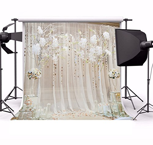 Laeacco 10x10ft Vinyl Backdrop Photography Background Wedding Ceremony Decorations Interior Curtain Boquet Flowers Event Holiday Party Festival Celebration Bride Friend Family Photo Video Shoot