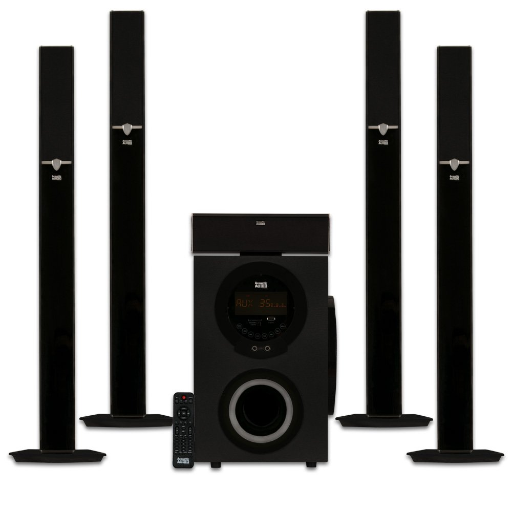 Acoustic Audio AAT3003 Tower 5.1 Home Theater Bluetooth Speaker System with 8'' Powered Subwoofer by Acoustic Audio by Goldwood