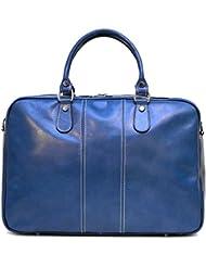 Floto Venezia Slim Blue Leather Briefcase Attache Lap-top Case