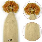 VANLINKE Fusion Keratin Pre Bonded U Nail Tip Remy Human Hair Extensions Straight 100s 26inch 0.7g Per Strand (#60 White Blonde)