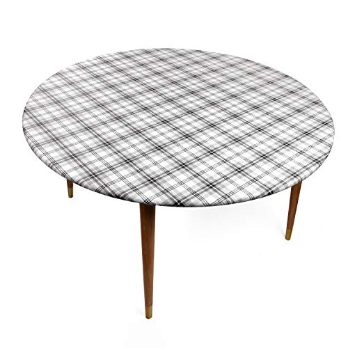 (Round Vinyl Tablecloth with Stitched Elastic Edge for Tight Fit - 44 Inch, Double Pack, Heavy Duty, Felt Backed, Plaid Pattern Table Cover for Easy Clean Up - Gray, Black, White - for Round Tables)