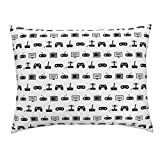 Roostery Video Game Euro Knife Edge Pillow Sham Pattern Black and White Vintage Retro Fun Gaming by Cloudycapevintage 100% Cotton Sateen
