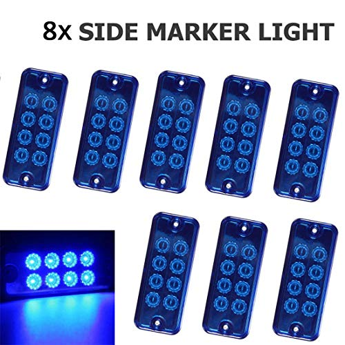 VIGORFLYRUN PARTS LTD 8pcs 8 LED Front Rear Side Marker Light Lamp Indicator Lights for 24V Truck Trailer Lorry RV Bus Exterior Lights Replacement - Blue: