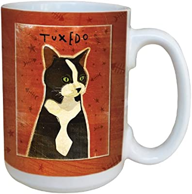 Golden Ceramic Mug with Full-Sized Handle 15-Ounce Tree Free lm44000 Tree-Free Greetings sg44000 Tuxedo Cat by John W