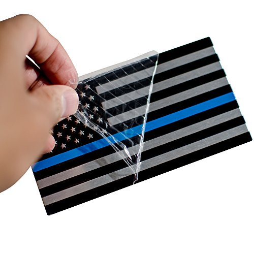 "3D Metal Thin Blue Line American Flag Sticker Decal Emblem | In Support of Police Officers and Law Enforcement | Bundle Pack 1 Large 5 x 2.75 1 Left 1 Right 3.2"" x 1.8"""