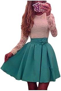 Las Mujeres De Cintura Alta Colorblock Lace Patchwork Swing Vestido De Fiesta