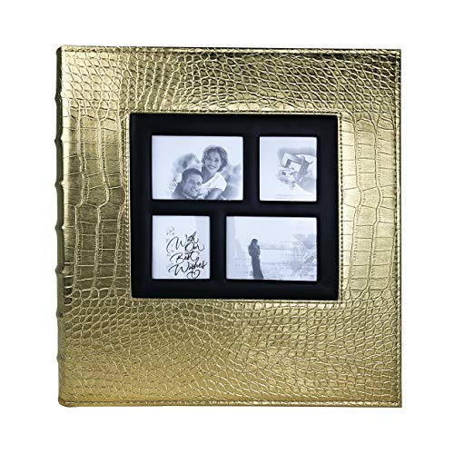 RECUTMS Photo Album 4x6 400 Pockets Black Pages Large Capacity Leather Cover Wedding Family Anniversary Photo Albums (Gold, 400 Pocket) (4 Page Layout)