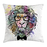 Ambesonne Fashion House Decor Throw Pillow Cushion Cover by, Hipster Lion with Glasses and Bowtie King of Animals Splash Style Art, Decorative Square Accent Pillow Case, 18 X 18 Inches, Purple Black