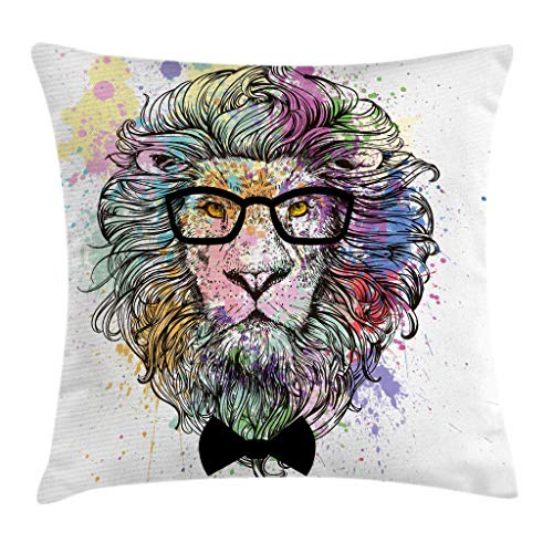Ambesonne Fashion House Decor Throw Pillow Cushion Cover by, Hipster Lion with Glasses and Bowtie King of Animals Splash Style Art, Decorative Square Accent Pillow Case, 18 X 18 Inches, Purple Black by Ambesonne