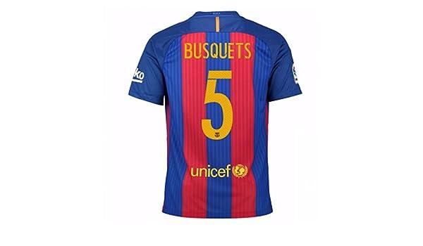 77696f1703 2016-17 Barcelona Home Football Soccer T-Shirt Camiseta (Sergio Busquets 5)  - Kids  Amazon.es  Deportes y aire libre