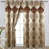 """Dark Beige Curtain Panel with Attached Waterfall Valance 54"""" X 84"""" Tkdecor"""