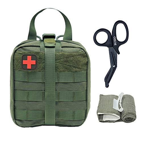 BUSIO Tactical MOLLE Pouch Set-IFAK EMT First aid Pouch-Military Emergency Survival Kit-Medical Bandage Scissors Trauma Bag (Army Green (3 Pieces ()