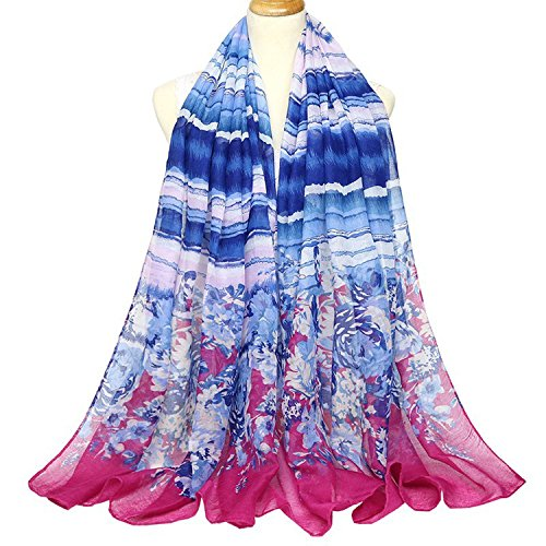 Rising ON gradient lady autumn and winter new scarf large size cotton and linen Bali Silk scarf travel shawl,Long,B concave LAN rose edge