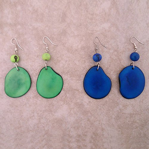 #3716 Two Set Artisan Amazon Tagua Nut Multicolored Earrings Fair Trade Peru Mix from Unknown