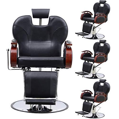 BarberPub Four Purpose Hydraulic Recline Salon Beauty Spa Shampoo Styling Barber Chairs 8705 Black