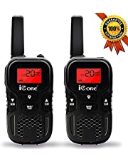 iCore Walkie Talkies for Kids Rechargeable, Toys Long Range 2 Way Talkie Radios (Pair) for Girls Boys, Discovery 22 Channel Flash Light Children (Black)