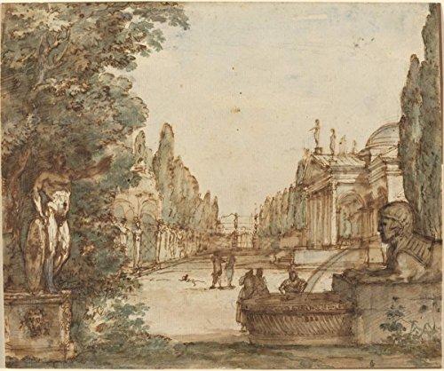 - Fine Art Print   Mauro Antonio Tesi   Capriccio with a Palladian Villa c. 1760   Vintage Wall Decor Poster Reproduction   44in x 36in