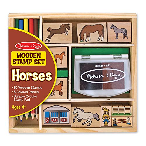 Melissa & Doug Wooden Stamp Activity Set: Horse Stable (10 Stamps, 5 Colored Pencils, 2-Color Stamp Pad, Great Gift for Girls and Boys - Best for 4, 5, 6 Year Olds and Up) (Horses Crafts With)