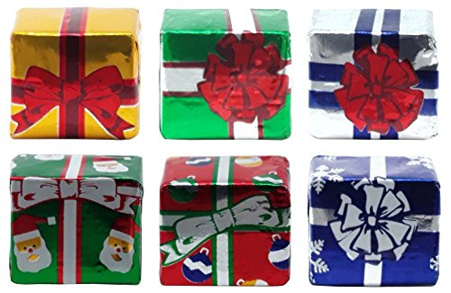 Madelaine Solid Premium Milk Chocolate Christmas Presents, Wrapped In Assorted Holiday Gift Wrap Italian Foils. - (1 LB)
