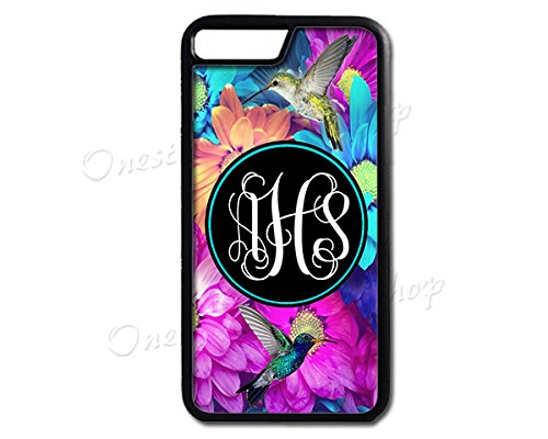 iPhone 7 Case Hummingbirds Monogram,Monogrammed Personalized,iPhone 7 Plus Hummingbird (Personalized Cell Phone Case)