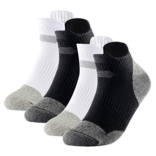 VANOMIE 4 Pack Men Odor-Resistant Low Cut Socks Athletic No Show Cushion Running Tab Socks Size 39-44, Black and White Color