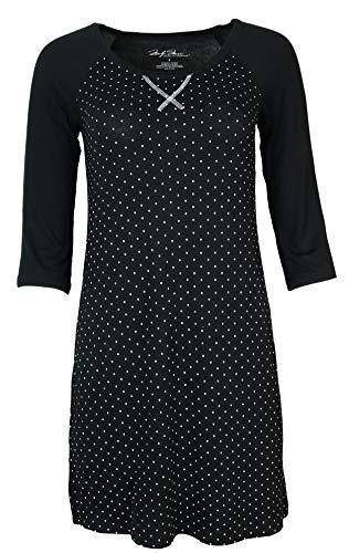 Marilyn Monroe Intimates Women's Nightshirt Nightgown, 3/4 Sleeve, Super Soft (Large, Black White Polka Dots)