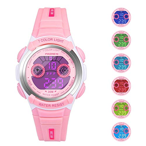 Girls Watches for Kids Sports Running Riding Swimming Climbing Durable Comfortable Multifunction 7 Colors Light LED Waterproof Digital Watch Gift for Girls Age 4-12 482pi