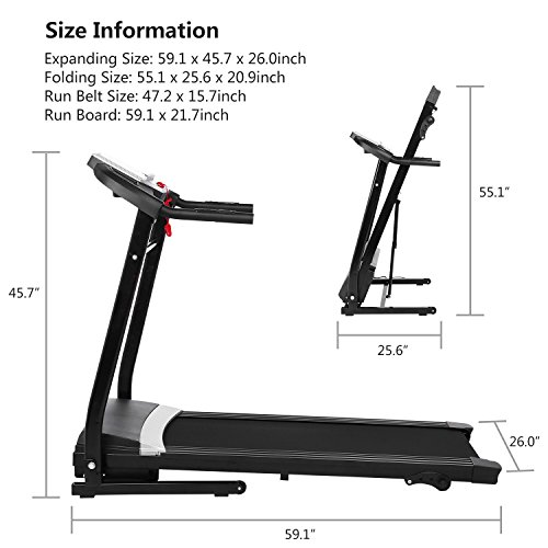 Folding Electric Treadmill Incline Motorized Running Machine Smartphone APP Control for Home Gym Exercise (2.25 HP-(APP Control)) by ncient (Image #6)