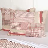 Piper Classics Mill Creek Red Standard Pillow Sham, 21'' x 27'', Country Farmhouse Bedding, Great for Christmas Too