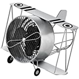 Deco Breeze Silver Biplane Figurine Fan