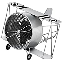 DecoBREEZE Table Fan Single-Speed Electric Circulating Fan, Silver Biplane Figurine Fan