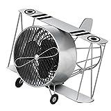 DecoBREEZE Table Fan Single-Speed Electric Circulating Fan, Silver Biplane Figurine Fan