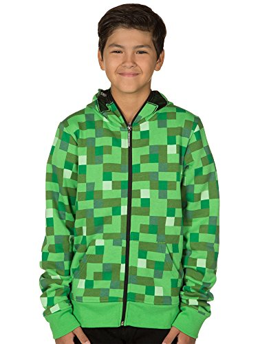 Minecraft Creeper Zip-Up Costume Hoodie, with Full Face Mask