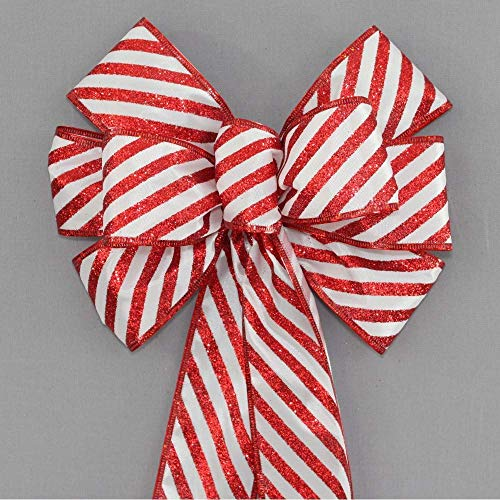 Red Glitter Candy Cane Christmas Wreath Bow - available in 2 sizes
