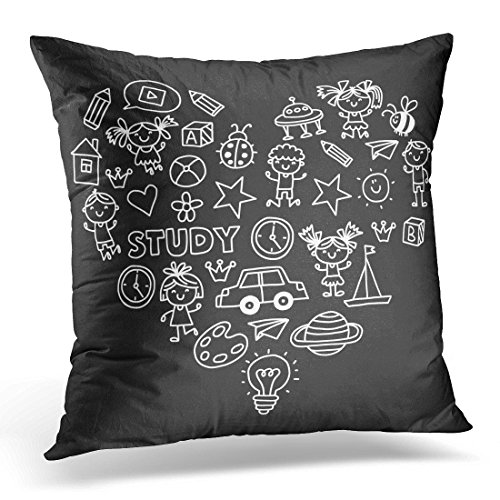 Duplins Kindergarten Nursery Preschool School Education with Children Doodle Kids Play and Study Boys and Girls Decorative Pillow Cover 16x16 Inches Throw Pillow Case Square Home Decor Pillowcase