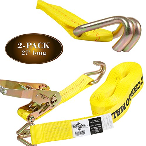 2 Tie-Down Ratchet Straps with J Hooks, 2 Heavy Duty 2